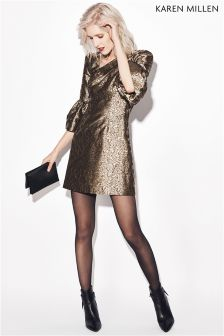 Karen Millen Gold Jacquard Collection Dress