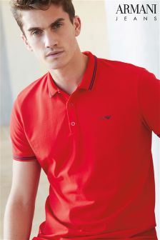 Armani Jeans Red Tipped Collar Polo