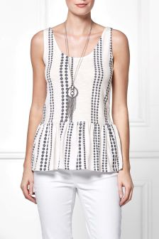 Embroidered Frill Vest