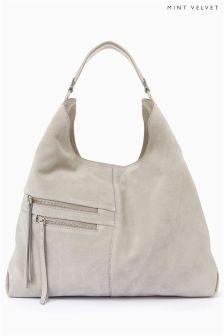 Mint Velvet Grey Zip Shoulder Bag