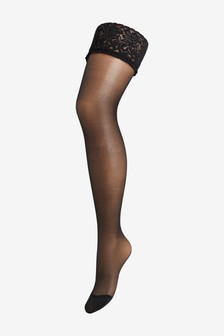 Ladder Resist Lace Top Hold-Ups