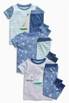 Boat T-Shirt Pyjamas Three Pack (9mths-8yrs)