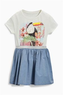 Toucan Chambray Dress (3-16yrs)