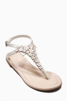 Flower Toe Thong Sandals (Older Girls)