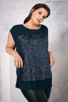 Live Unlimited Navy Sequin Tee
