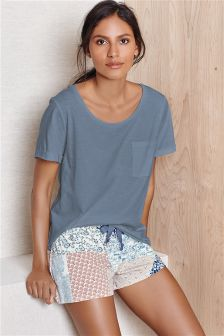 Neutral Patchwork Short Pyjama Set