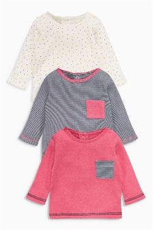 Pink, Navy Stripe And Spot Tees Three Pack (0mths-2yrs)