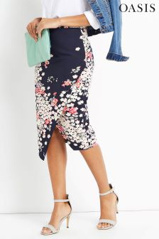 Oasis Multi Blue Floral Wrap Pencil Skirt