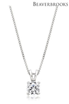 Beaverbrooks Silver Cubic Zirconia Claw Pendant