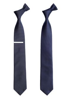 Navy Spot And Plain Tie Two Pack With Tie Clip