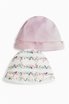 Pink Floral Hats Two Pack (0-12mths)