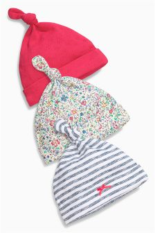 Floral Tie Top Hats Three Pack (0-12mths)