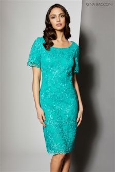 Gina Bacconi Green Embroidered Corded Mesh Dress