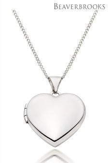 Beaverbrooks 9ct White Gold Heart Locket Pendant