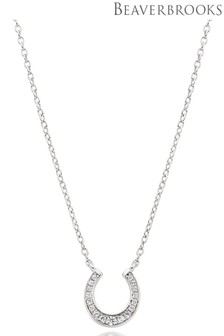 Beaverbrooks Silver Cubic Zirconia Horseshoe Necklace