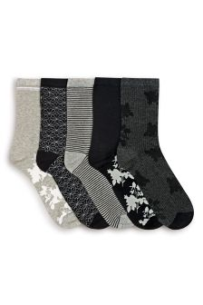 Black Floral Ankle Socks Five Pack