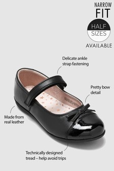 Black Narrow Fit Patent Toe Cap Mary Jane Shoes (Older Girls)