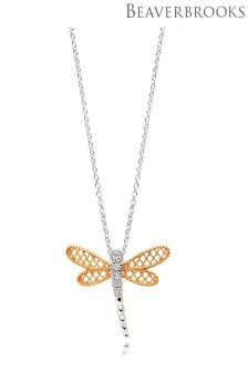 Beaverbrooks Silver Rose Gold Plated Cubic Zirconia Dragonfly Pendant