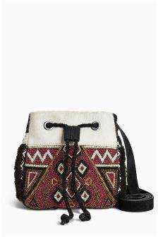 Embroidered Mini Duffle Bag