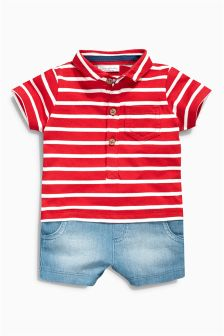 Red/Ecru Stripe Romper (0mths-2yrs)