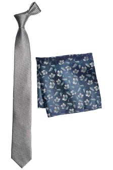 Silk Patterned Tie And Pocket Square