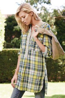 Check Longline Shirt Dress