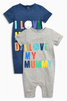 Navy/Grey Mummy Daddy Rompers Two Pack (0mths-2yrs)