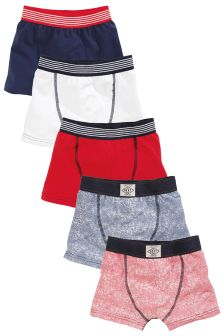 Red Fine Stripe Trunks Five Pack (2-16yrs)