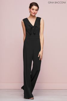 Gina Bacconi Black Cleo Bow Detail Jumpsuit
