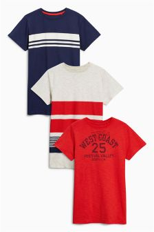 Red/Navy/Stripe T-Shirts Three Pack (3-16yrs)