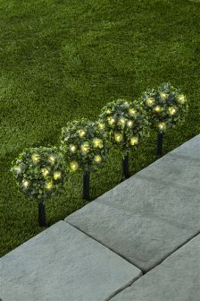 Set Of 4 Solar Topiary Ball Stakes