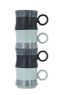 Set Of 4 Nara Stacking Mugs