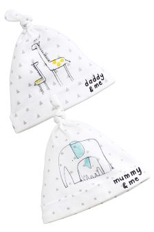 White Mummy, Daddy And Me Tie Top Hats Two Pack (0-12mths)
