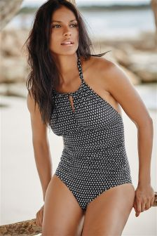 Monochrome Geo Print Racer Neck Swimsuit