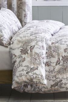 200 Thread Count Cotton Sateen Grey Birds Bed Set