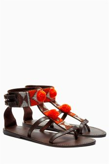 Chocolate Pom Beaded Sandals