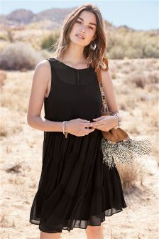 Black Premium Pom Pom Dress