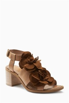 Tan Leather Flower Sandals