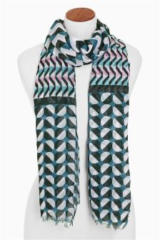 Pink Blue Black Geo Scarf