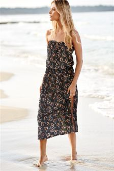 Black Burnout Tie Maxi Dress