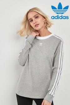 adidas Originals Grey 3 Stripe Long Sleeve Top