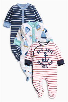 Nautical Sleepsuits Three Pack (0mths-2yrs)