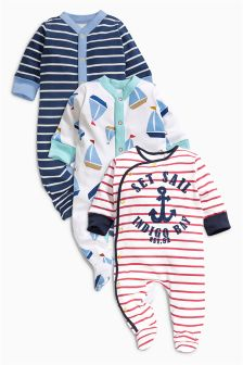 Navy Nautical Sleepsuits Three Pack (0mths-2yrs)