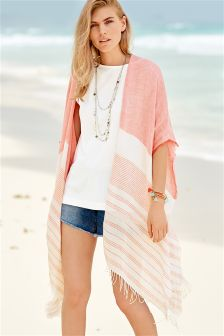 Coral Light Linen Blend Cover Up