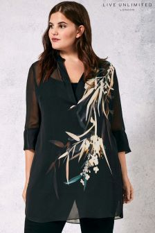 Live Unlimited Black Bamboo Floral Blouse