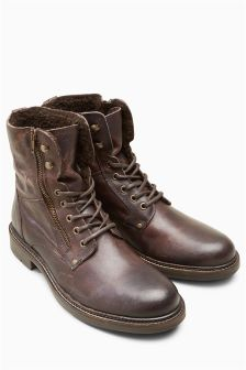Brown Leather Borg Zip Boot