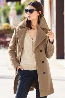 Camel Textured Wool Mix Coat