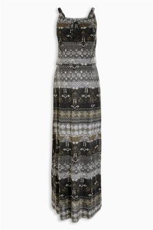 Charcoal Stripe Printed Layer Maxi Dress