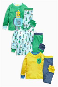 Robot Pyjamas Three Pack (9mths-8yrs)