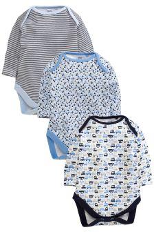 Three Pack Blue Ditsy Transport Long Sleeve Bodysuits (0mths-2yrs)